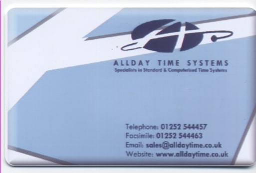 Allday Time Manager (ATM) RFID attendance cards and Keyfob/tokens
